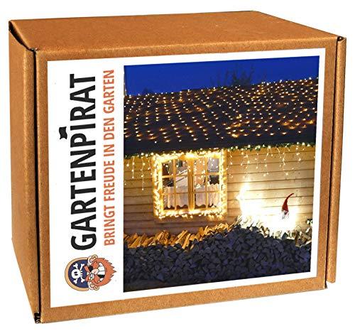 Gartenpirat Filet Lumineux LED à Piles et minuteur 3 x 3 m 200 LED Coloris Blanc Chaud pour extérieur