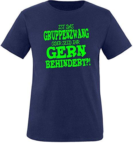 EZYshirt® Ist das Gruppenzwang oder seid ihr gern behindert Herren Rundhals T-Shirt Navy/Neongrün
