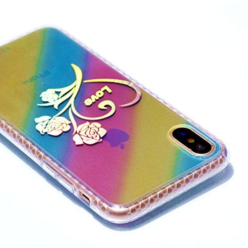 Apple iPhone X Hülle, Voguecase Schutzhülle / Case / Cover / Hülle / Plating TPU Gel Skin (Datura) + Gratis Universal Eingabestift Geäst