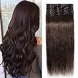 TESS Extensions Echthaar Clip in Dunkelbraun #2 Remy Haar Extensions guenstig Haarverlängerung 18 Clips 8 Tressen Lang Glatt, 22