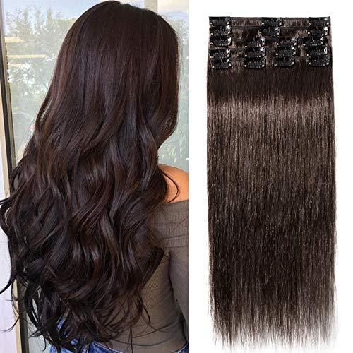 """TESS Extensions Echthaar Clip in Dunkelbraun #2 Remy Haar Extensions guenstig Haarverlängerung 18 Clips 8 Tressen Lang Glatt, 20\""""(50cm)-70g"""