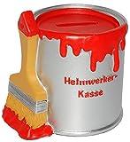 alles-meine.de GmbH Spardose - Farbtopf mit Pinsel -  Heimwerker Kasse  - Rot - Stabile Sparbüch..