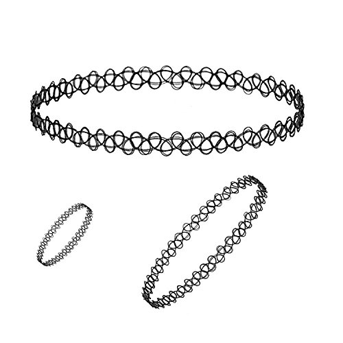 Nnits Black Plastic Choker Necklace , Bracelet & Ring Combo For Woman