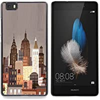 For Huawei Ascend P8 Lite (Not for Normal P8) Case , New York City Art Déco Pittura Luci Nyc - Design Pattern Duro Staccabile Stile Telefono Cellulare Nuovo Caso Cover Guscio Duro