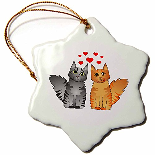 3drose Orn _ 35531_ 1Cute Maine Coon Katzen in Love silber und rot gestromt Schneeflocke Porzellan Ornament, 3Zoll