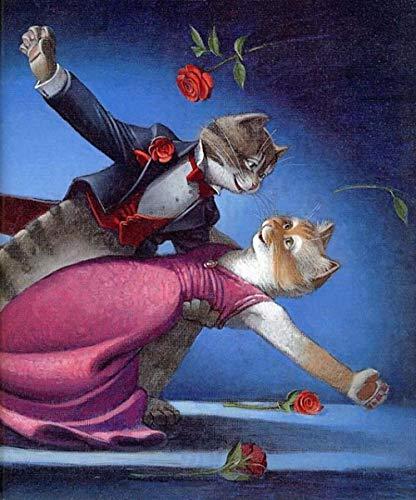 Myytcy Freizeit Puzzle Unterhaltung Runde Diamant DIY Diamant Malerei Cartoon Rote Rose Cat Romantische Tanz Diamant Stickerei Geschenk Dekoration