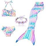DAXIANG 3 Pièces Maillot de Bain Princesse Queue de Sirène Mermaid Bikini(Il y a la boucle au bas de la queue,pouvez ouvrir pour marcher ou fermer pour ajouter monopalme) (150(10-12 Ans), Arc en ciel)