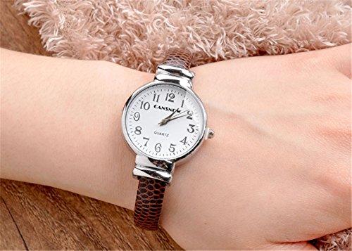 JSDDE Uhren,Damen Armbanduhr Chic Manschette Rund Damenuhr Spangenuhr Schlage Haut Band Armbanduhr Quarzuhr(Kaffee) - 4