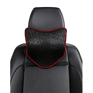 ANFTOP Neck Support Headrest Pillow for Pain Relief with Soft Memory Foam Car Driving Travel Kit Seat Cushion Head Pillow - Black