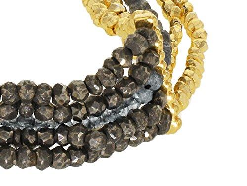 Jade Jagger Labradorite Pyrite et plaqué martelé 5 Rangs Perles Bracelet 18 cm Plaqué or