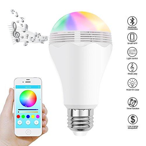Ampoule LED RGBW Bluetooth Sans Fil, Minger Ampoule de Couleur Changeable avez Haut-parleur Multicolore Décoration Éclairage Contrôlée par iPhone / iPad / Appareils Android / Tablette