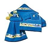 Kinderbutt Kapuzenbadetuch blau Größe 140x140 cm