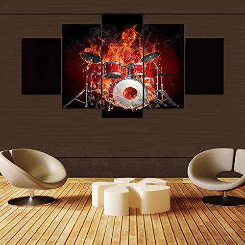 mmwin Leinwand Wandkunst Bilder Arbeiten Wohnkultur Raumplakat 5 Stücke Flamme Schädel Trommeln Feuer Kombinieren HD Gedruckt Abstrakt