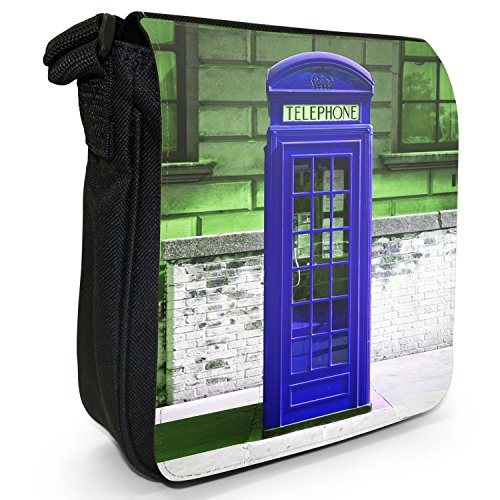La cabina telefonica londinese-Borsa a tracolla in tela, piccola, colore: nero, taglia: S Nero (blu)