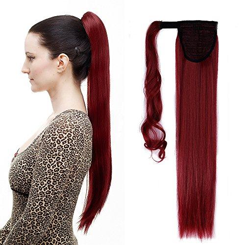 58cm extension clip coda di cavallo capelli sintetici lunghi lisci ponytail extension - castano mix rosso scuro
