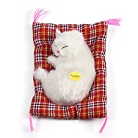 Zerodis Simulation Sleeping Cat Toy with Soft Mat Bed Durable Vocalize Meow Kitten Stuffed Plush Toys Doll Home Decoration