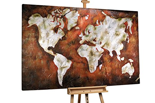 'Shiny Continents' 180x120cm | Weltkarte Vintage Kontinent Braun Orange | Modernes Kunst Ölbild