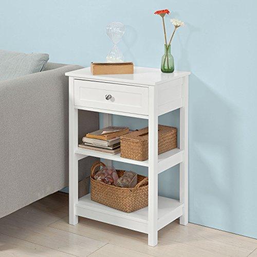 SoBuy® FBT46-W Beistelltisch Nachttisch Couchtisch in weiß mit einer Schublade und 2 Ablagen