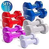 C.P. Sports Gymnastikhanteln 0,5-0,75-1,0-1,5-2,0-2,5-3,0-4,0-5,0-6,0-8,0-10 kg - Paare Kurzhantel, Vinyl Hanteln, Faust Hantel, Gewichte, Fitness (Set 5)