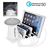 Tempo USB Charging Station, 5-Port USB Multi Device Charging Dock Desktop Charging Stand with Mushroom LED Night Light for Kindle iPhone Apple Cell Phone and Android Devices-White