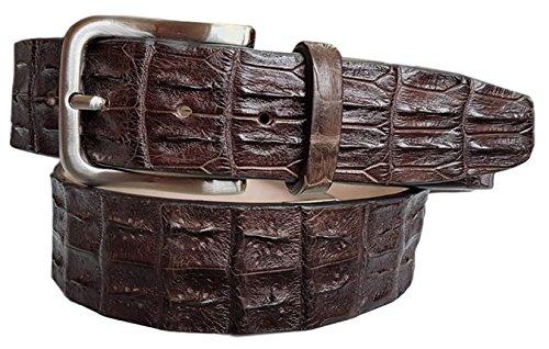 Gürtel aus Krokodil Rückenlehne und Rinderleder. Breite 4cm, Unisex Dark Brown (SIZE 40- 105 CM-90 CM WAIST) (Krokodil Gürtel)