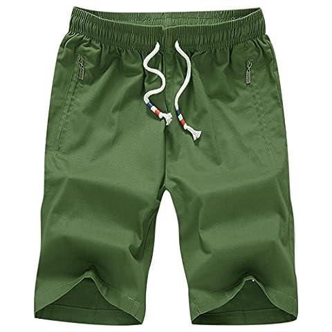 Honeystore Herren Shorts Casual Bermuda Baumwolle Sommer Sport Hose in 12 Farben Dunkelgrün 3XL