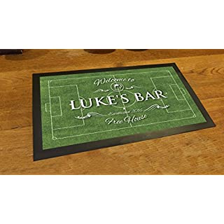 Artylicious Personalised Welcome football pitch Bar mat runner counter mat