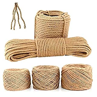 100% Natural Strong Yellow Cord, 1-5 mm Hemp Rope, Craft Cord, Natural Jute Craft Cord, for DIY Crafts Home Garden Deco 3mm