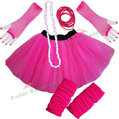 Ladies Neon Tutu Skirt with 80s Accessories