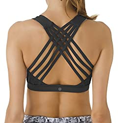 Queenie Ke Women's Medium Support Strappy Back Energy Sport Bra Cotton Feel Size S Color Black Pro