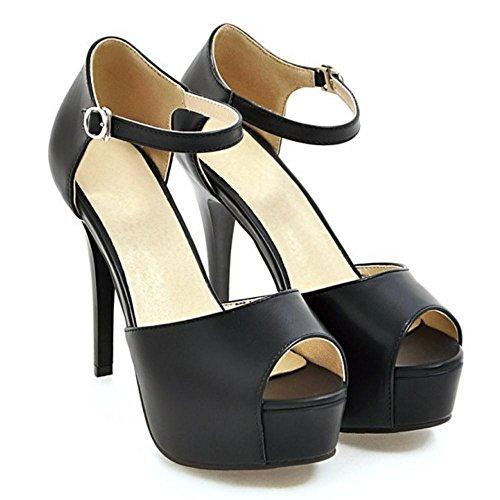 TAOFFEN Femmes Peep Toe Sandales Black
