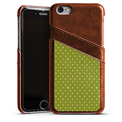 Apple iPhone 5s Housse Étui Protection Coque Points Vert Motif Étui en cuir marron