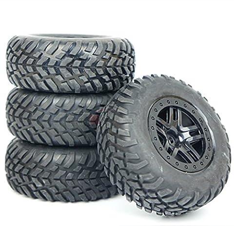Junsi 4 Pcs Rubber Tyre Pneus Tires Wheel Rim Jante M0189 for 1/10 RC Short Course Traxxas Slash