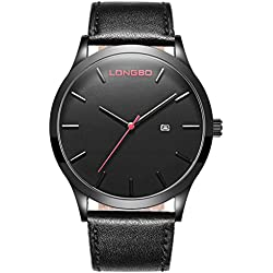 LONGBO Mens Unique Black Leather Band Military Simple Big Face Watches Minimalism Black Dial Auto Date Wristwatches Sportive Waterproof Business Analog Quartz Watch For Man