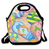 Ntpclsuits Lunch Boxes Summer Flip-Flops Lunch Tote-Personalized Lunch Bags