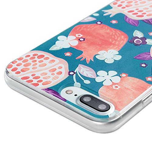 MAXFE.CO TPU Silikon Hülle für iPhone 7 Plus Handyhülle Schale Etui Protective Case Cover Rück mit Kleinen Granatapfel Skin TPU-Kantenschutz Aquarell Design Schutzhülle + 1x Eingabestift Stylus Touch  Kleinen Granatapfel