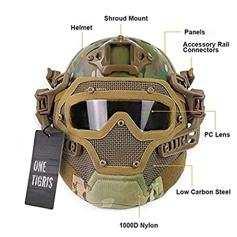 OneTigris Tactical Fast Helmet PJ Type with Protective Goggle and Mesh Face Mask for Airsoft Paintball