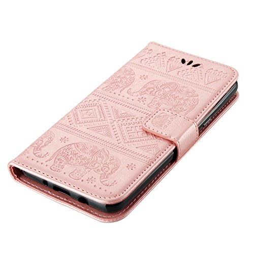 FESELE Samsung Galaxy J3 2017 Coque(Version Américaine),Samsung Galaxy J3 2017 Housse,Samsung Galaxy J3 2017 Étui Cuir,Premium Folio Cuir [Éléphant] Embossing Portefeuille avec Cordon Lanyard Retro Ho Or rose