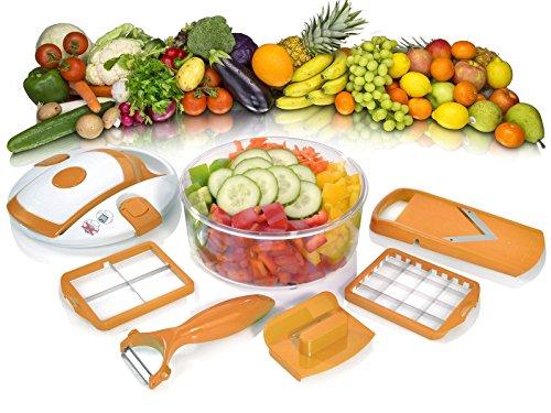 Genius Salat Chef Smart Set 6-tlg. Salat Obst Gemüse Schneider Schäler Hobel NEU, Farbe:orange
