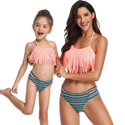 c452e1de2 Bikinis Niña Camisolas Madre e Hija Ropa Traje de baño Mujer Dos Piezas con  Flecos Ropa