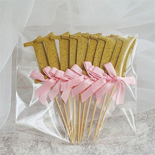 zantec 100ersten Geburtstag Dekorationen Anzahl 1Cupcake Topper Boy Girl 1. Jahr Party Decor Pink ribbon with gold
