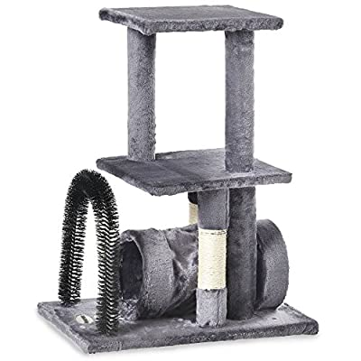 Milo & Misty Cat Tree with Scratching Arch features, Hide Platforms & Self Grooming Bristle Arch