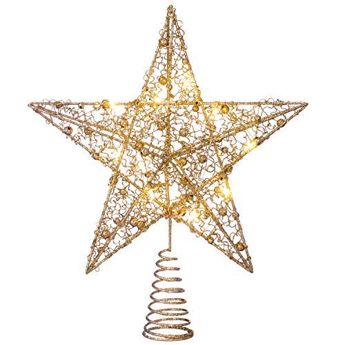 Werchristmas pre-lit sprinky luci led albero di natale a forma di stella, oro, 31cm