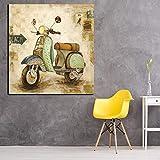 ADGUH Leinwanddrucke Cartoon Style Poster und Drucke Moderne Motorrad Wandkunst Bilder Kein Rahmen...