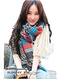 Des femmes coréenne à long rétro bohème écharpe chaude Tassel tricot 481-1