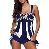 VJGOAL Damen Tankini, Damen Plus Size Farbverlauf Tankini Bikini Tops + Shorts Sets Bademode Badeanzug Badeanzug (S / 32, X-Streifen-Marine)
