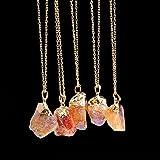 Bazhahei Cadena de SuéTer Crystal Pendant Sweater Chain Colgante de Cuarzo Chapado en Oro de Piedra Natural, 1Pc, Collar de Piedra de Cristal.