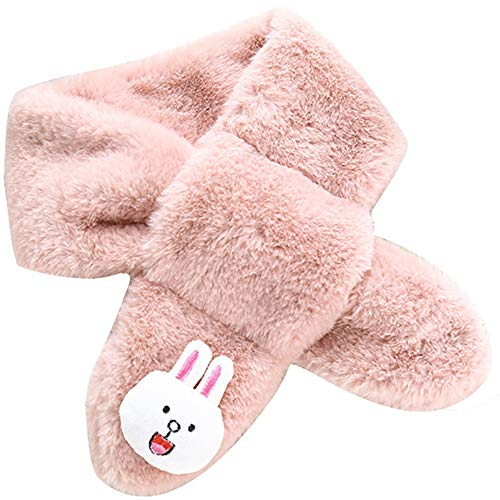 Tianzhiyi Wunderschöner Schal Baby Schal Unisex Jungen Mädchen Winter Schals Halswärmer Niedlichen Cartoon Kaninchen Design Warme Weiche Plüsch Kreuz Halstuch Kinder Snood Schal (Color : Pink) Reversible Poncho