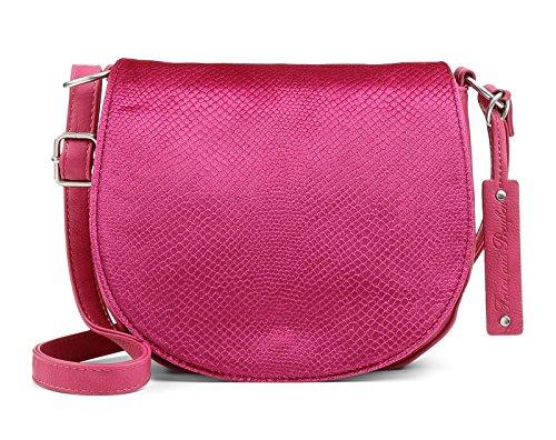 Fritzi aus Preussen Damen Polly Umhängetasche, Pink (Fuchsia) 167/Velvet Snake, 20.5x19x6.5 cm Fuchsia Velvet