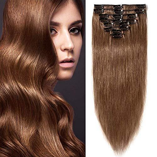 Echthaar Clip in Extensions günstig Haarverlängerung 8 Tressen 18 Clips Remy Human Hair 55cm-75g(#6 Mittelbraun)